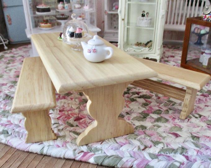 Miniature Table And Bench Set, Mini Wood Oak Finish Table With 2 Benches, Dollhouse Miniature Furniture, 1:12 Scale, Mini Table Set