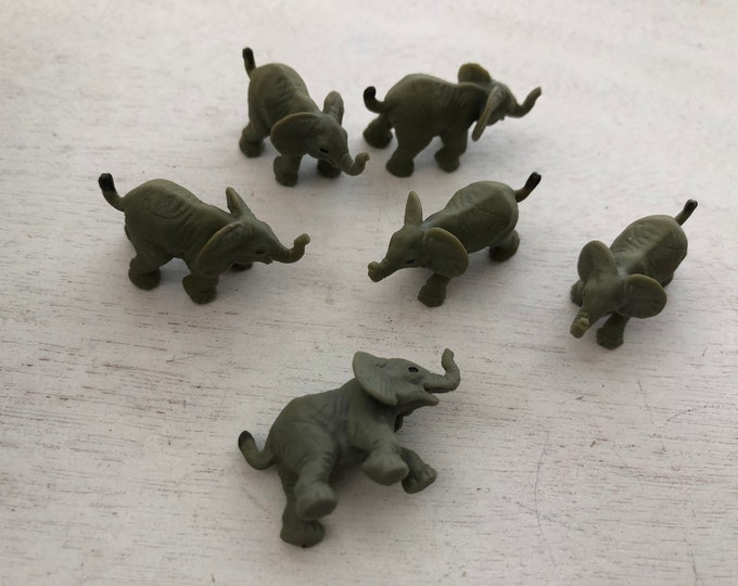 Miniature Elephants, Set of 6 Standing Elephants, Plastic Elephants, Great for Toppers, Crafts, Embellishments
