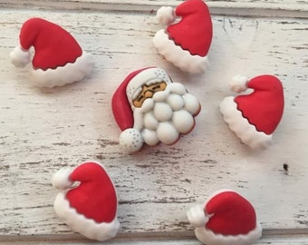 """SALE Santa Hat And Santa Buttons, Novelty Button Package by Buttons Galore, """"Santa's Hat Rack"""", Style 4739, Shank Back Button, 6 Buttons Per"""
