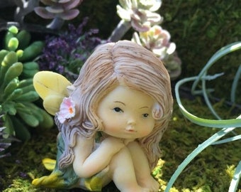 SALE Sweet Little Fairy Girl Figurine, Little Fairy Style 61, Miniature Garden Decor, Fairy Garden Accessory, Topper