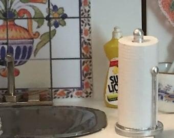 SALE Miniature Paper Towel Holder, Dollhouse Miniature, 1:12 Scale, Dollhouse Kitchen Decor, Accessory, Mini Resin Paper Towel Holder