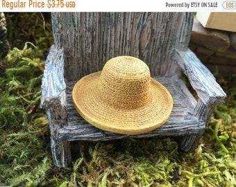 SALE Miniature Hat, Garden Straw Look Hat, Dollhouse Miniature, Miniature Garden, Fairy Garden Accessory, Mini Straw Hat, Style 8609