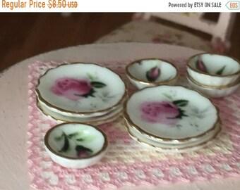 SALE Miniature Pink Rose Bowls and Plates Set, Dollhouse Miniatures, 1:12 Scale, 8 Piece Set, Gold Trim Bowls and Plates, Dollhouse Accessor