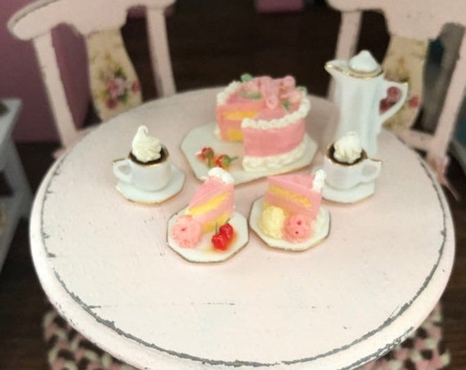 SALE Miniature Strawberry Cake and Coco Dessert Set, Mini China Dishes and Desserts, 6 Piece Set, Dollhouse Miniatures, 1:12 Scale, Mini Foo
