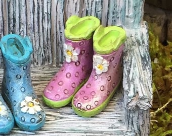 SALE Miniature Rain Boots, Wellies, Purple With Green Soles, Fairy Garden Accessory, Home and Garden Decor,Mini Polka Dot Boots