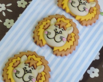 "Lion Buttons, ""Lester The Lion"", Carded Novelty Buttons by Buttons Galore, Bazooples Collection, Set of 3, Shank Back Buttons"