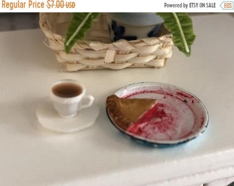 SALE Miniature Pie & Coffee Set, Slice of Pie in Blue Flow Pie Pan and Filled Coffee Cup on Saucer, Dollhouse Miniature, 1:12 Scale, Mini Fo