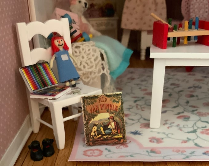 Miniature Children's Book, Mini Rip Van Winkle Story Book, Readable Book with Illustrations,Dollhouse Miniature, 1:12 Scale Mini Book, Text