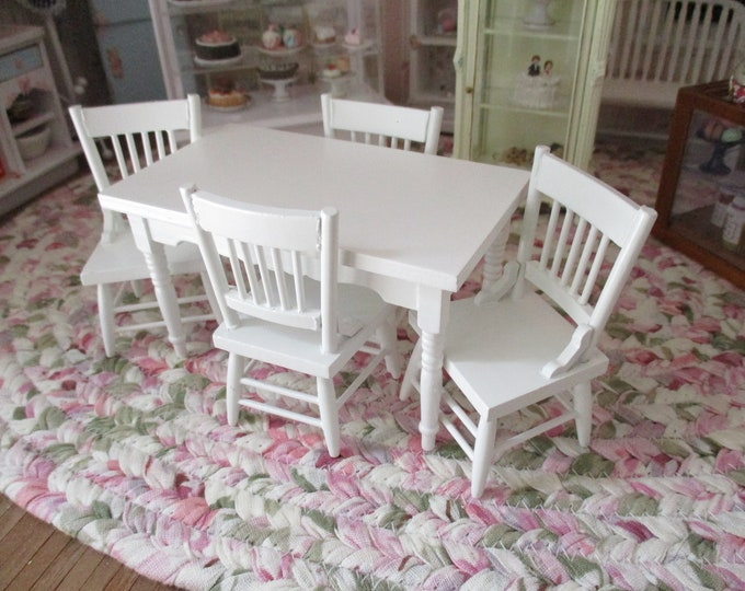 Miniature Table And Chair Set, Mini White Table With 4 Chairs, Style #36, Dollhouse Miniature Furniture, 1:12 Scale, Mini Wood Table Set