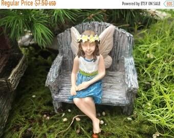 "SALE Fairy Garden Fairy Figurine,  ""Hazel"" , Sitting Fairy With Daisy Headband, Crossed Legs, Fairy Garden Accessory, Garden Decor"