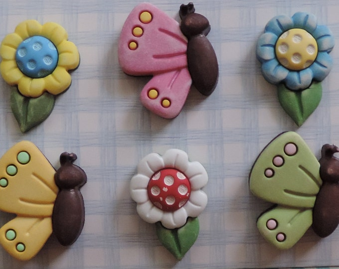 """Butterfly and Daisy Buttons, """"Flutterbugs & Flowers"""", Spring Fling Collection by Buttons Galore, Carded Buttons, 3D, Shank Back Buttons"""