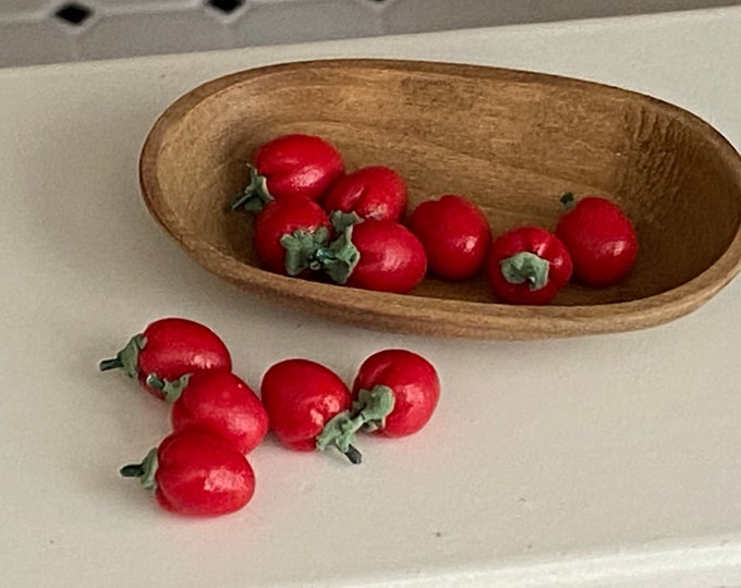 Miniature Tomatoes,  Mini Roma Tomatoes 12 Piece Set, Style #20, Dollhouse Miniature 1:12 Scale, Dollhouse Food, Mini Tomato
