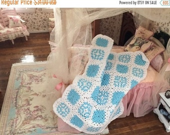 SALE Miniature Afghan, Crochet White and Blue Afghan, Dollhouse Miniature, Hand Made Mini Afghan, Dollhouse Throw, Bedspread, Blanket