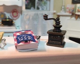 SALE Miniature Coffee Grinder, Dollhouse Miniature, 1:12 Scale, Metal Coffee Grinder, Miniature Dollhouse Kitchen Decor, Accessory