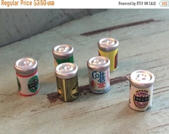 SALE Miniature Beer Cans, Dollhouse Miniatures, 1:12 Scale, Dollhouse Food, Miniature Drinks, Dollhouse Accessory, Mini Cans