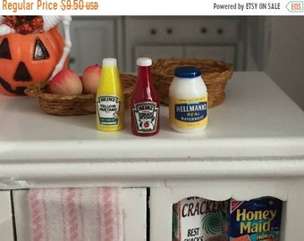 SALE Miniature Condiments, Ketchup, Mustard and Mayo Jar, Dollhouse Miniatures, 1:12 Scale, Miniature Food, Pretend Food, Dollhouse Accessor
