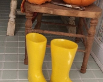 SALE Miniature Yellow Boots, Mini Rubber Boots, Rain Boots, Galoshes, Dollhouse Miniature, 1:12 Scale, Dollhouse Accessory, Decor, Crafts