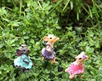 SALE Micro Mice Garden Picks, Set of 3, Tiny Girl Mice, Dressed Micro Mice, Fairy Garden Accessory, Miniature Garden Decor, Crafts, Toppers