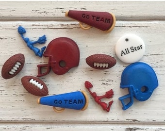 SALE Football Buttons, Packaged Novelty Buttons, Style 4076 by Buttons Galore, Includes Helmets Footballs Cheerleader and More, Sewing. Craf