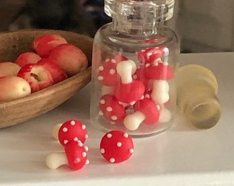 SALE Miniature Mushrooms in Glass Jar, Red and White Mushrooms, Dollhouse Miniature, 1:12 Scale, Miniature Food, Dollhouse Accessory, Decor