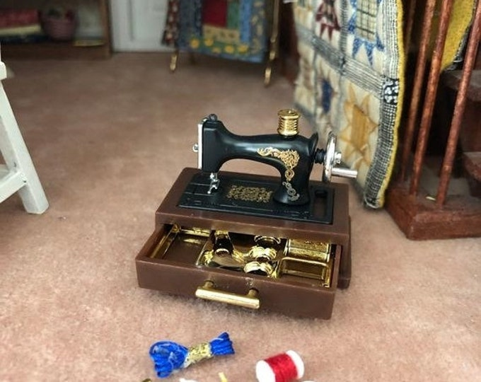 SALE Miniature Sewing Machine with Accessories and Storage Drawer, Dollhouse Miniature, 1:12 Scale, Dollhouse Decor, Mini Sewing