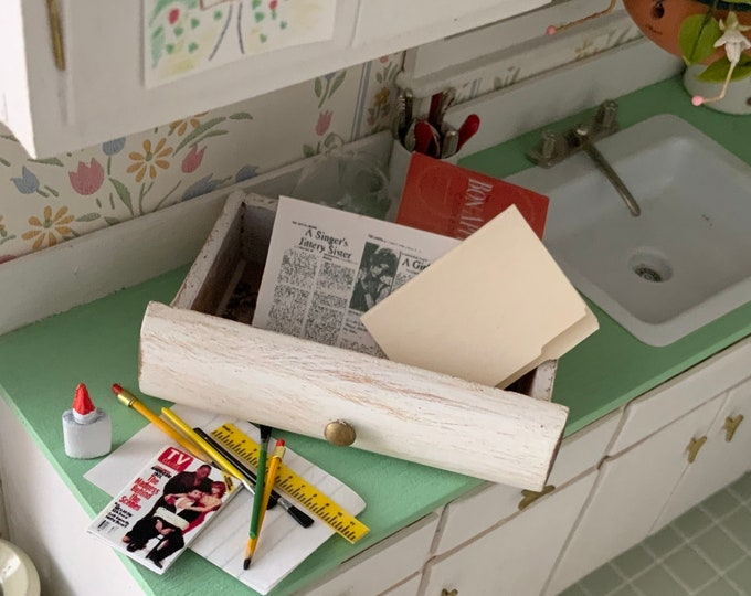 Miniature Junk Drawer Filled with Paper & Office Products,  Dollhouse Miniatures, 1:12 Scale, Dollhouse Accessory, Decor