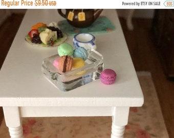 SALE Miniature Macaroons with Glass Dish, 7 Piece Set, Mini Macarons, Dollhouse Miniature, 1:12 Scale, Dollhouse Accessory, Decor, Cookies,