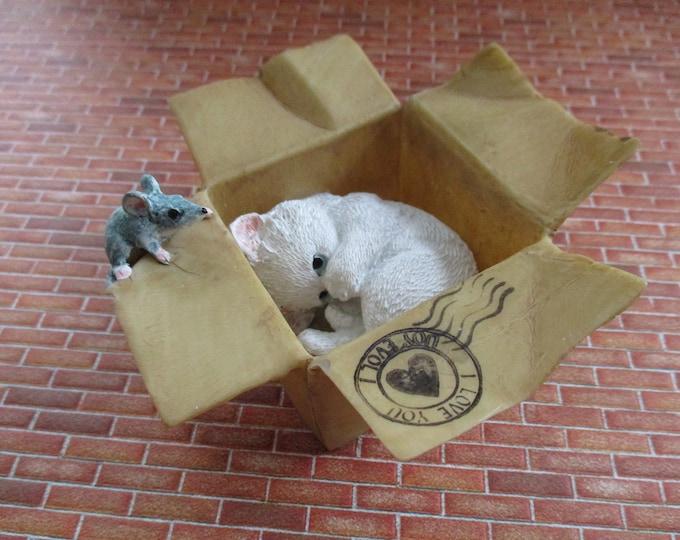 Kitten Hiding in Box With Mouse Figurine, Cute White Kitty Cat & Mouse Figurine, Shelf Sitter, Fairy Garden Miniature Garden Decor, Gift