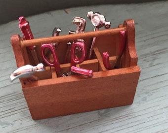 SALE Miniature Wood Tool Box With Tools, Dollhouse Miniature, 1:12 Scale, 8 Piece Set, Tote Tool Box, Dollhouse Decor, Embellishment, Crafts