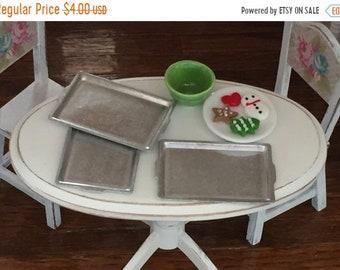 SALE Miniature Aluminum Baking Pans, Cookie Sheets 3pcs, Dollhouse Miniature, 1:12 Scale, Dollhouse Kitchen Accessory, Miniature Baking