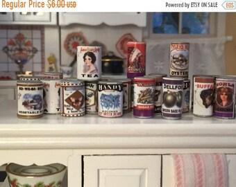 SALE Miniature Food Cans, Set of 24, Mini Food, Dollhouse Miniature, 1:12 Scale, Dollhouse Food, Pantry Cupboard Cans, Miniature Food Cans