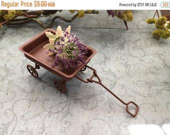 SALE Mini Rusty Metal Wagon, Fairy Garden Accessory, Garden Decor, Miniature Gardening