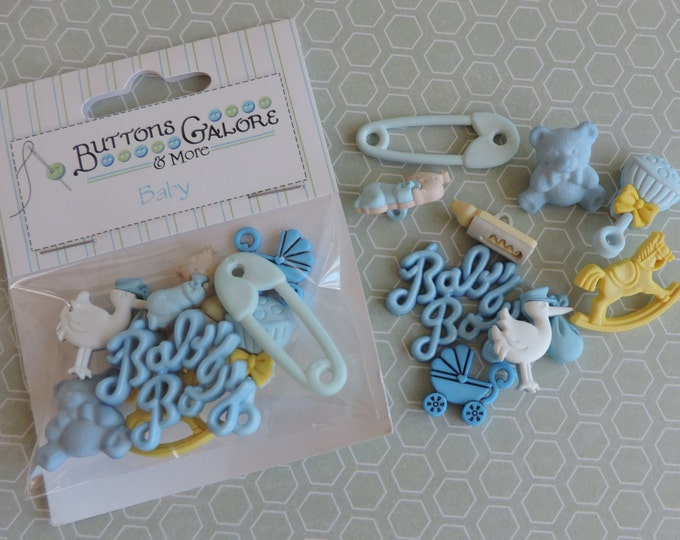 Baby Boy Buttons, Embellishments and Buttons Package by Buttons Galore Style 4423, Sewing Crafting Buttons and Embellishemtns