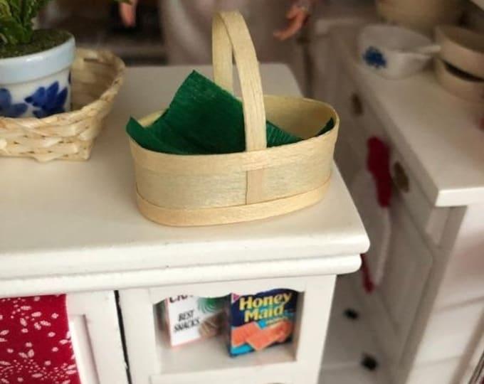 Miniature Basket, Mini Chip Wood Basket Green Liner, Dollhouse Miniature, 1:12 Scale, Mini Product, Clearance, Dollhouse Decor
