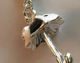 SALE Umbrella Charm with Lobster Claw Clasp Black White and Silver
