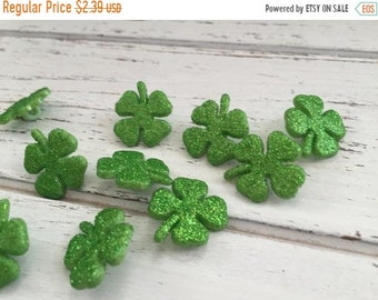 SALE Glittered Shamrock Buttons, Four Leaf Clover Buttons, Packaged Buttons by Buttons Galore, Style 4456, Shank Back Buttons, Crafting, Sew