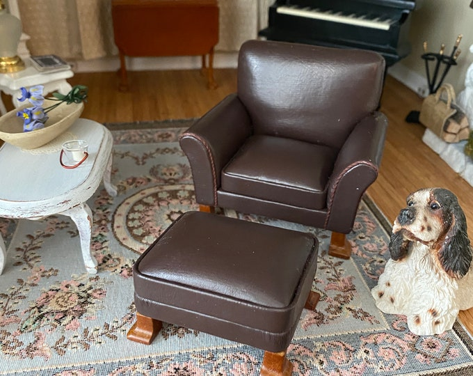 Miniature Leather Chair And Ottoman, Dollhouse Furniture, Mini Armchair and Foot Stool, Dollhouse Miniature 1:12 Scale