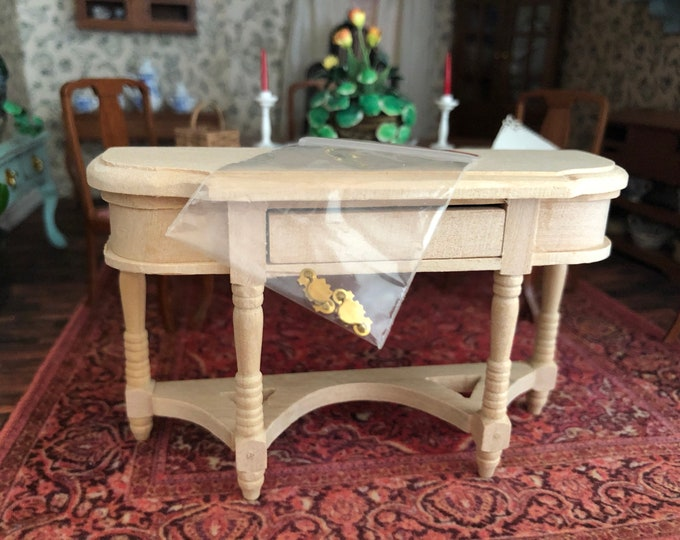 Miniature Unfinished Wood Buffet Sofa Table with Drawer and Brass Handles, Dollhouse Miniature Furniture, 1:12 Scale