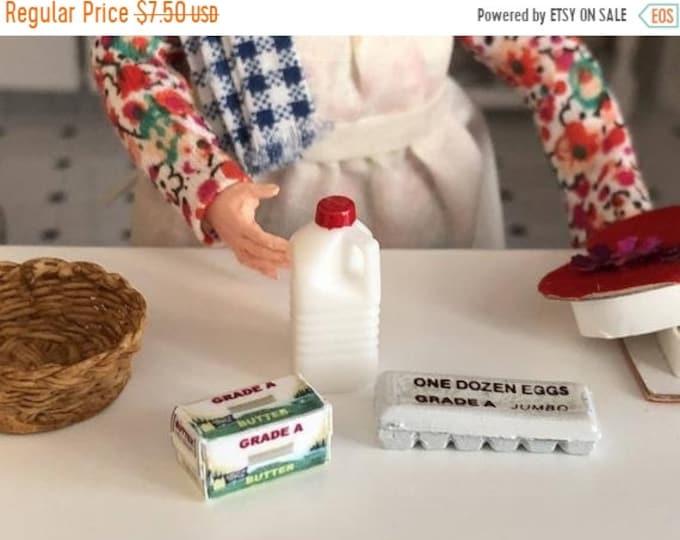 SALE Miniature Milk Eggs and Butter Set, Miniature Food, Dollhouse Miniatures, 1:12 Scale, Dollhouse Food, Pretend Food, Dollhouse Accessori