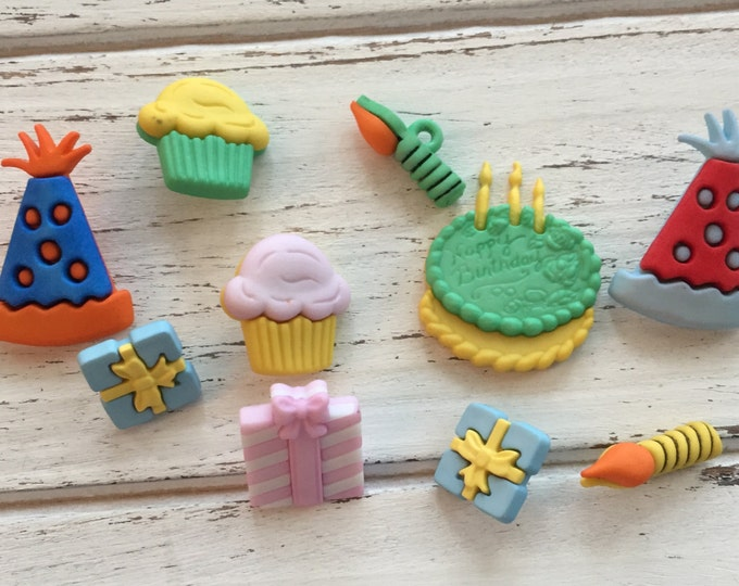 Happy Birthday Party Buttons, Packaged Novelty Buttons by Buttons Galore, Style 4020, Includes Hat Cake Presents Candles, Sewing, Crafting