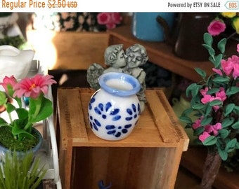 SALE Miniature White and Blue Vase, Dollhouse Miniature, 1:12 Scale, Mini Flower Vase, Ceramic Vase, Dollhouse Accessory, Decor, Crafts