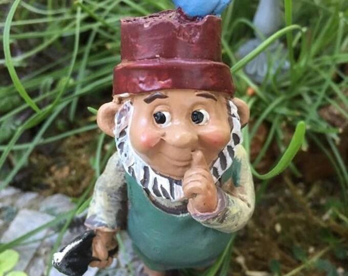 SALE Mini Gnome With Bird Figurine, Miniature Garden Gnome, Standing Gnome, Home and Garden Decor, Topper, Shelf Sitter