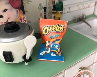 SALE Miniature Snack Bag, Miniature Bag of Cheese Puffs, Dollhouse Miniature, Miniature Food, Dollhouse Accessory, Crafts, Decor, Mini Snack