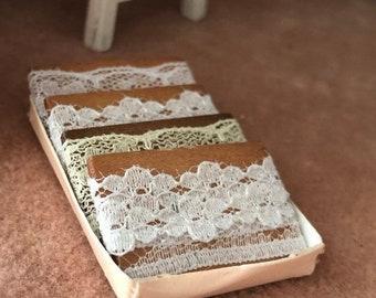 SALE Miniature Lace, Mini Wrapped Lace in Box, Dollhouse Miniature, 1:12 Scale, Dollhouse Accessory, Sewing Room Decor, Mini Sewing