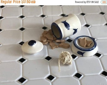 SALE Miniature Cat Set, Ceramic Canister, Bowl, Fish Shaped Food and Ball of String, Dollhouse Miniature, 1:12 Scale, Dollhouse Accessory, D