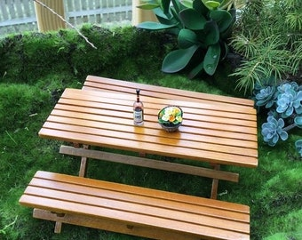 SALE Miniature Picnic Table and Benches, 3 Pc Set, Wood Picnic Table, Dollhouse Miniature Furniture, Fairy Garden Accessory, Garden Decor