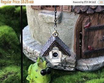 SALE Mini Birdhouse With Shepherds Hook, Hanging Birdhouse and Hook, Fairy Garden Accessory, Miniature Garden Decor, Metal Pick, Resin Birdh