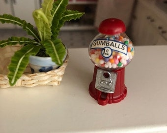 SALE Miniature Gumball Machine, Filled Gum Ball Machine, Dollhouse Miniature, 1:12 Scale, Dollhouse Accessory, Store Display, Topper, Crafts