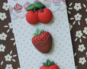 Strawberry and Cherry Buttons, Carded Set of 3, Novelty Buttons,  Sweet Delights Style SD121 by Buttons Galore, Embellishments