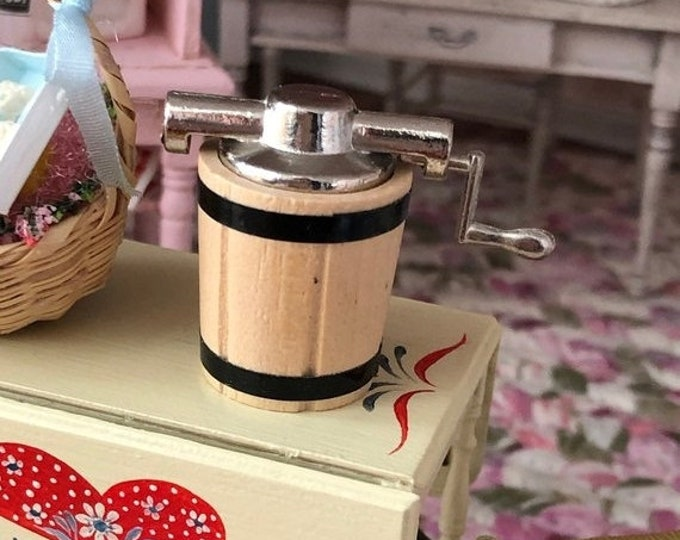 SALE Miniature Ice Cream Maker, With Metal Handle, Dollhouse Miniature, 1:12 Scale, Dollhouse Accessory, Decor